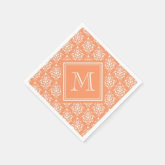 Orange Damask Pattern 1 with Monogram Paper Napkin