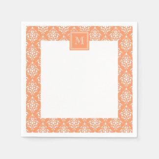 Orange Damask Pattern 1 with Monogram Disposable Napkins