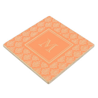 Orange Damask Pattern 1 with Monogram Wooden Coaster