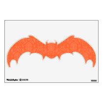 Orange Damask Pattern Halloween Bat Wall Decal