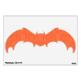Orange Damask Pattern Halloween Bat Wall Skin