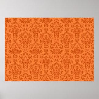 Orange Damask Pattern Poster