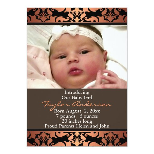"Orange Damask Photo Birth Announcement 4.5"" X 6.25"" Invitation Card"