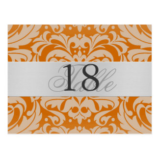 Orange Damask Silver Metal Table Number PostCard