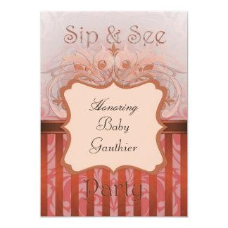 Orange Damask Sip & See Baby Shower Invitation