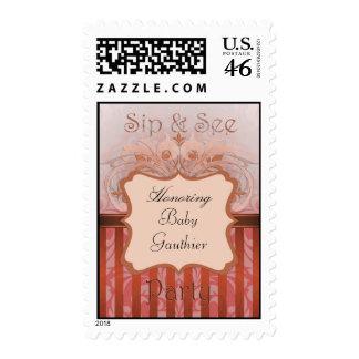 Orange Damask Sip & See Baby Shower Postage Stamp