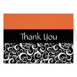 Orange Damask Swirls Thank You Cards