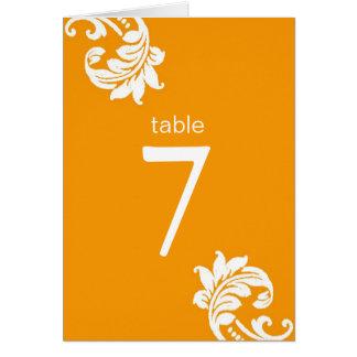 Orange Damask Table Seating Cards