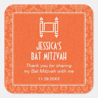 Orange Damask Torah Bat Mitzvah Square Stickers
