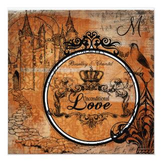 Orange Damask Unconditional Love Wedding Invite