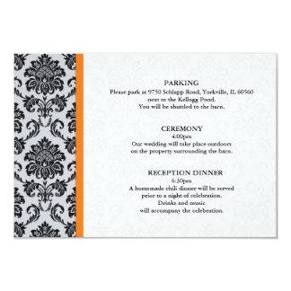 Orange Damask Wedding Direction Cards