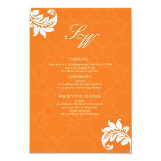 Orange Damask Wedding Enclosure Card