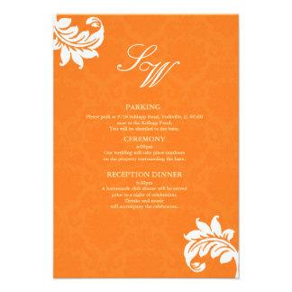 Orange Damask Wedding Enclosure Card Invitation