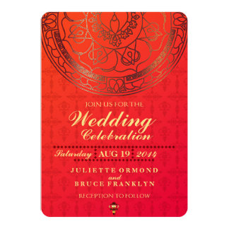 Orange Damask Wedding Invitation Collection
