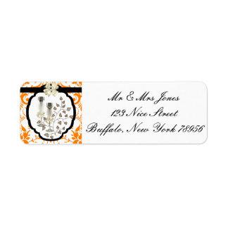 Orange Damask Wedding Invitation Label