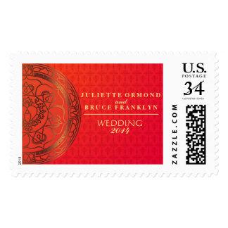 Orange Damask Wedding Postage Stamp