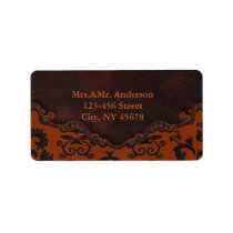 orange Damask Western Leather Address Labels