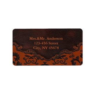 orange Damask Western Leather Address Labels