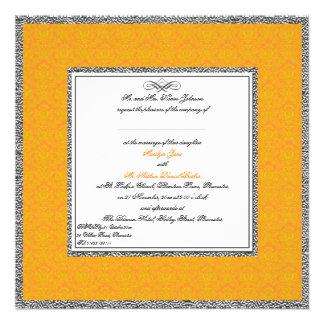 Orange Damask with Pewter U K Wedding Invitation