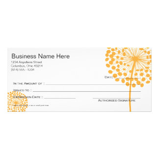 Orange Dandelion Flower Gift Certificate Design 2