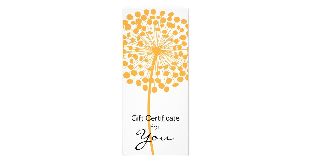 Orange dandelion flower gift certificate design 2 zazzle for Dandelion flowers and gifts