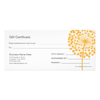 Orange Dandelion Flower Gift Certificate Design 3