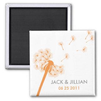 Orange Dandelion Wedding Favor Magnet