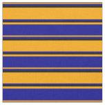 [ Thumbnail: Orange, Dark Blue & Black Striped Pattern Fabric ]