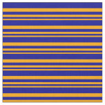 [ Thumbnail: Orange & Dark Blue Colored Lined Pattern Fabric ]