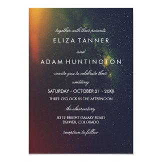 Orange & Dark Blue Galaxy Photo Wedding Invitation