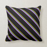 [ Thumbnail: Orange, Dark Cyan, Violet, and Black Colored Throw Pillow ]