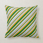 [ Thumbnail: Orange, Dark Green, Lavender, and Grey Colored Throw Pillow ]