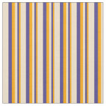 [ Thumbnail: Orange, Dark Slate Blue & Tan Stripes Fabric ]