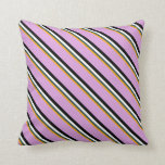 [ Thumbnail: Orange, Dark Slate Gray, White, Black, and Plum Throw Pillow ]
