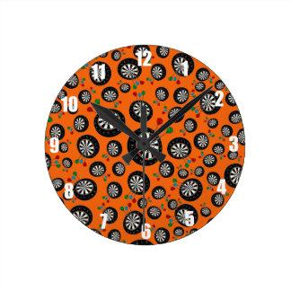 Orange dartboard pattern round clocks