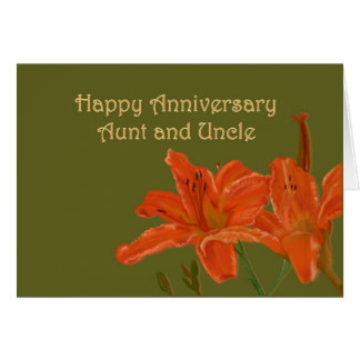 Orange Day Lilies Anniversary Greeting Cards