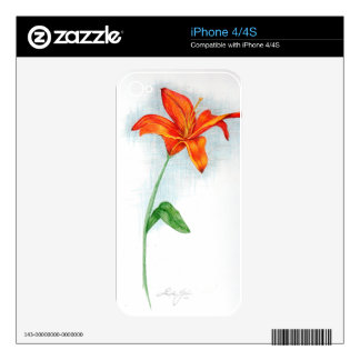 Orange Day Lilly Skins For iPhone 4S