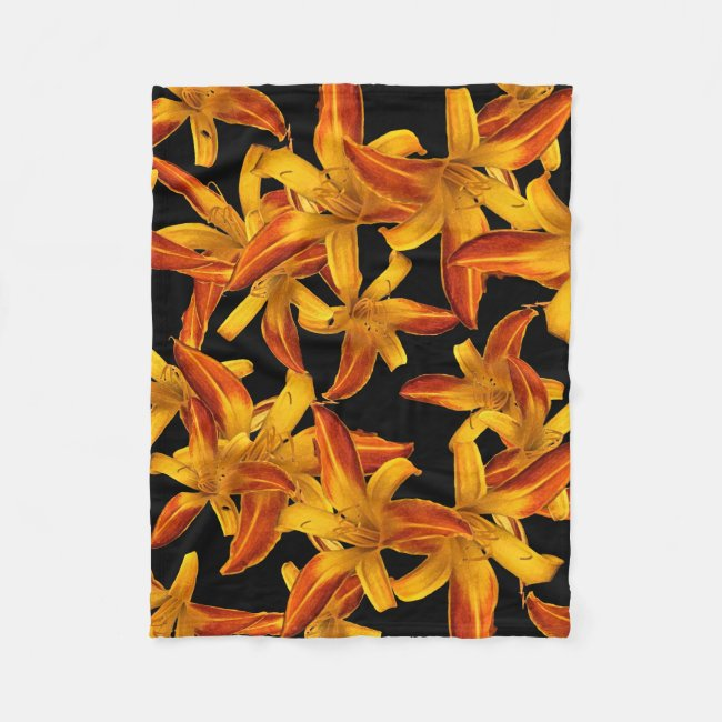Orange Daylilies Floral Fleece Blanket