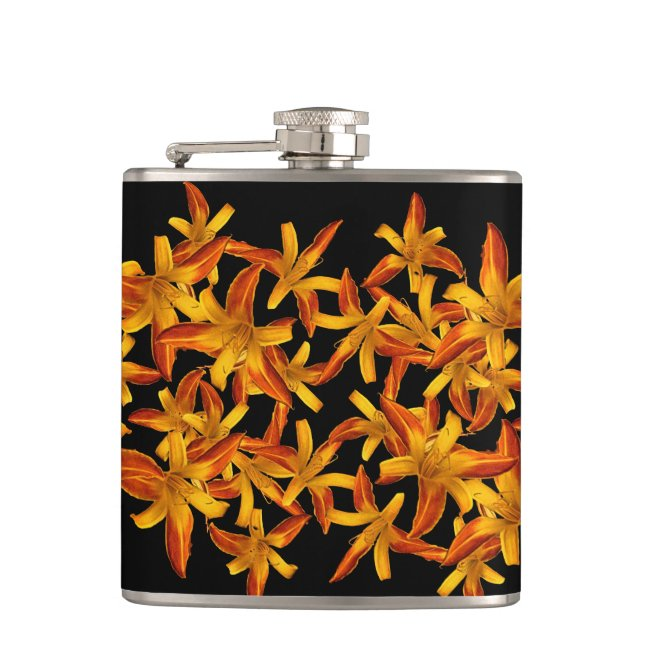 Orange Daylilies Floral Garden Flowers Flask