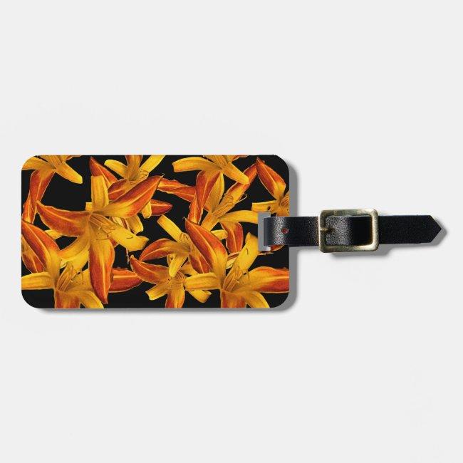 Orange Daylilies Floral Garden Luggage Tag