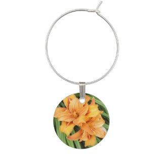 Orange Daylilies Floral Nature Wine Glass Charm