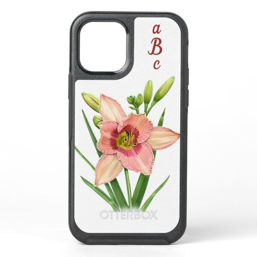 Orange Daylily Flower Botanical Art Personalized OtterBox Symmetry iPhone 12 Case