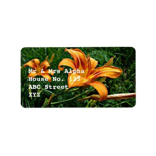 Orange Daylily Label Address Label