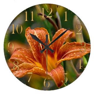 Orange Daylily & Raindrops Flower Photo Large Clock