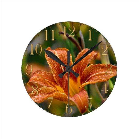 Orange Daylily & Raindrops Flower Photo Round Clock