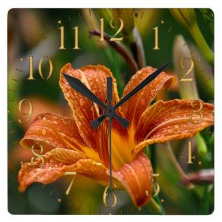 Orange Daylily & Raindrops Flower Photo Square Wall Clock