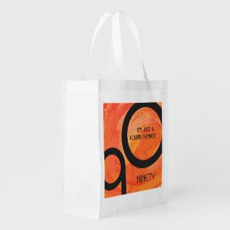 Orange Decade 90th Birthday Reusable Grocery Bag