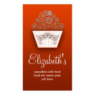 orange decorative modern cupcake business card