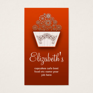 orange decorative modern cupcake business card