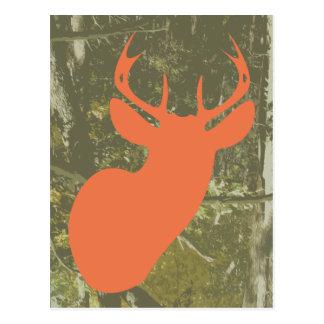 Orange Deer + Camo Birthday Postcard Invite